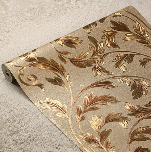 New 6color luxury 3D European gold foil wallpaper roll 3D relief floral background wallpaper For Walls 3D luxury gold wall paper the 2016 gold foil chinese dragon background wallpaper