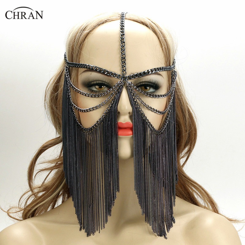 Chran New Sexy Women Multi Layer Tassel Head Chain Headdress Jewelry Forehead Headband Chainmail Face Mask Body Jewelry CRB4140