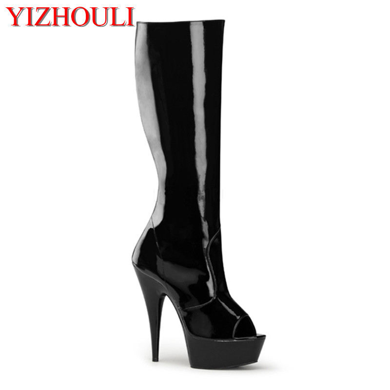 Classics black / white 6 inch high heels knee boots platform women open toe boots spring and autumn cool bootsClassics black / white 6 inch high heels knee boots platform women open toe boots spring and autumn cool boots