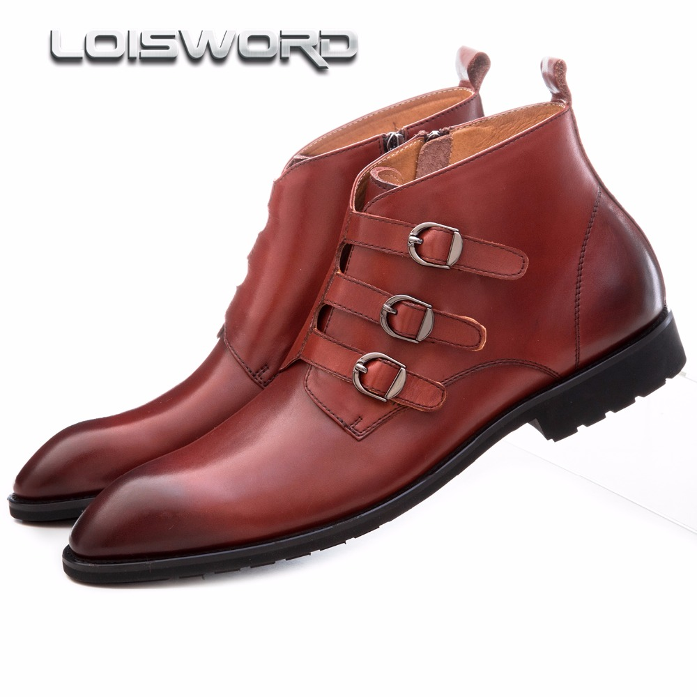 LOISWOR black / brown tan three buckles ankle boots mens casual shoes genuine leather motorcycle boots mens outdoor shoes shiny slim black gold red flats shoes mens casual shoes genuine leather mens outdoor shoes ankle boots