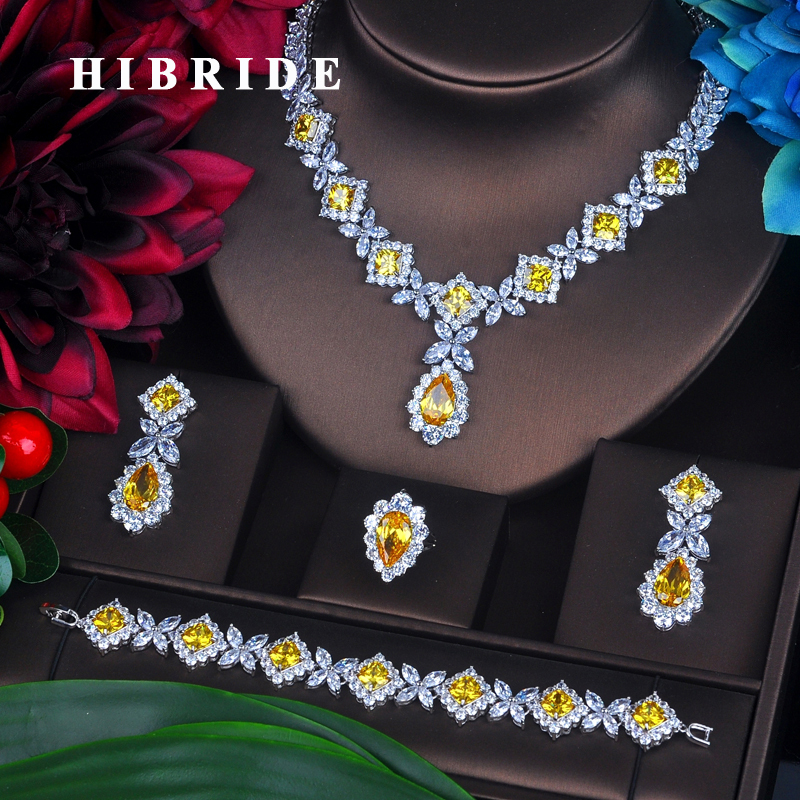 HIBRIDE Charm żółta cyrkonia zestawy biżuterii dla kobiet zestawy ślubne 4 sztuk kolczyk naszyjnik bransoletka pierścień prezent N 391 w Zestawy biżuterii od Biżuteria i akcesoria na  Grupa 1