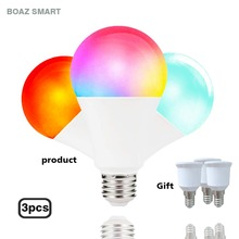 Boaz-EC Smart Light Bulb,LED wifi lamp,Compatible with Alexa,Siri, Google Home ,Color Changing Dimmable E27 light buib(7W)3Pack