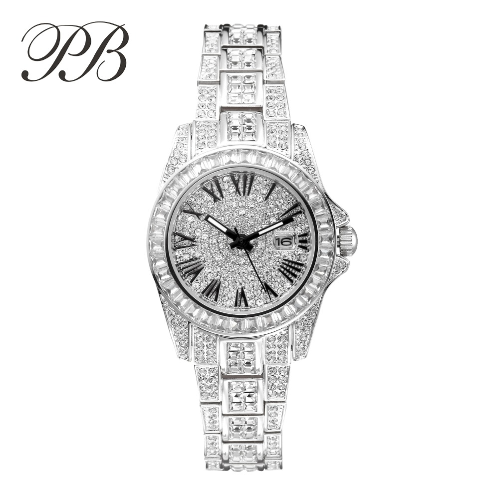 PB Brand Women Luxury Austria Crystal Dress Wristwatch Ladies Fashion Quartz Casual Stainless Steel Dress Diamond