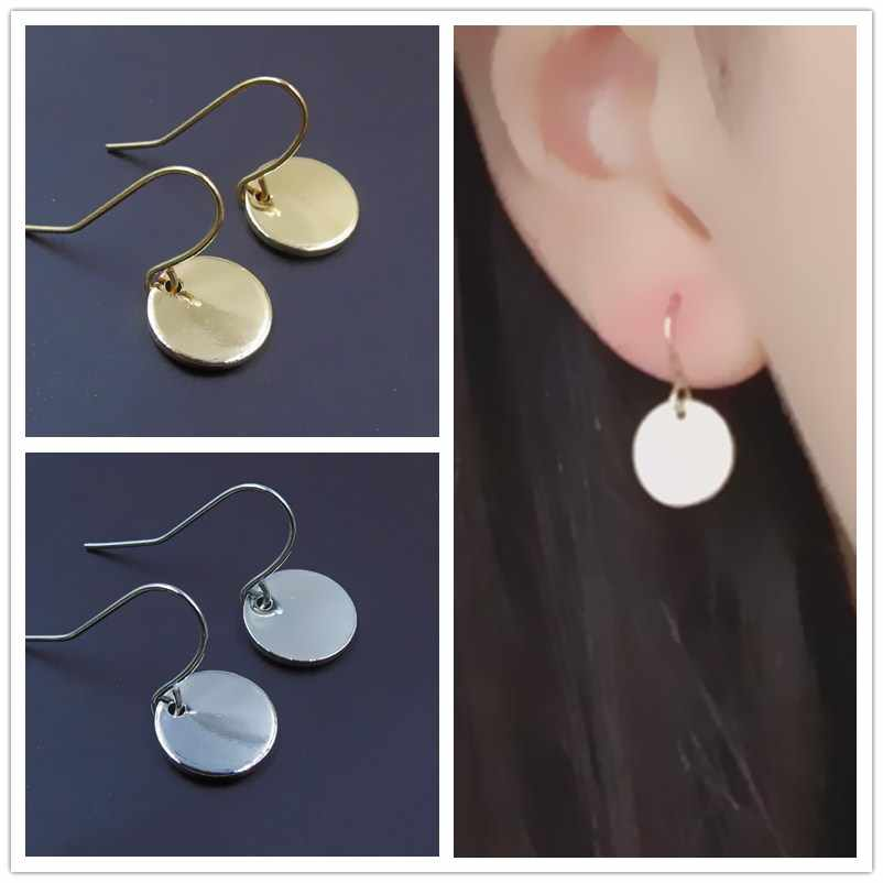 EK956 New Fashion Small Wafer Coin Dangle Earing Gold Silver Mini Metal Round Circle Drop Earrings For Women Jewelry Pendientes