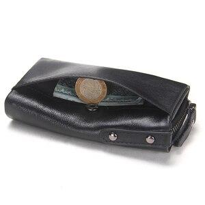 Image 4 - İletİşİm hakiki deri erkek anahtar cüzdan küçük erkek çanta ile sikke cep anahtarlık adam çantası kahya yüksek kaliteli anahtarlık