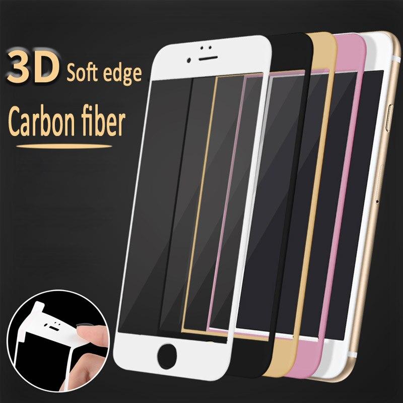 imágenes para 100 unids Brillante de Fibra de Carbono 3D Curvada Borde Suave Protector de Pantalla de Cristal Templado Para el iphone 7/6 S/6 De Fibra De Carbono 3D curvada