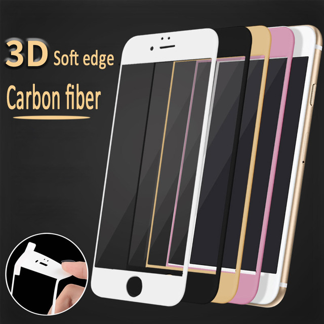 100pcs Glossy Carbon Fiber 3D Curved Soft Edge Tempered Glass Screen Protector For iPhone 8/7/6S/6 Carbon Fiber 3D curved