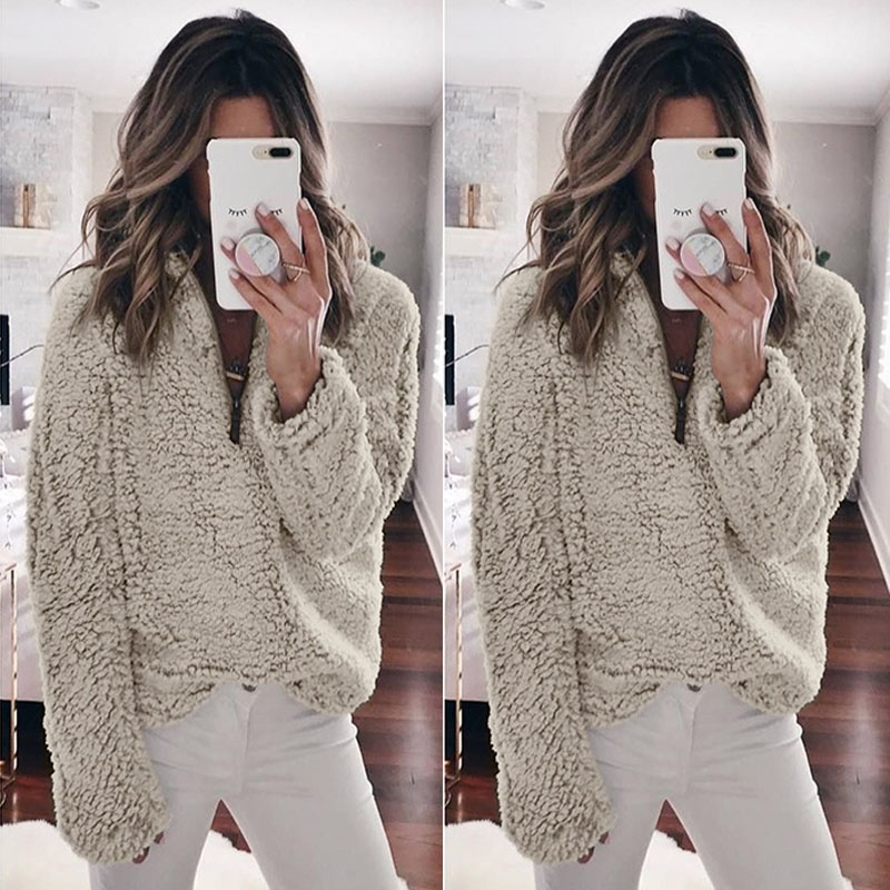 Women Wool Warm Clothes Blouse Pullover Tops Coat Zipper Neck Autumn Clothing Winter Women's Clothing Long Sleeve Top 3