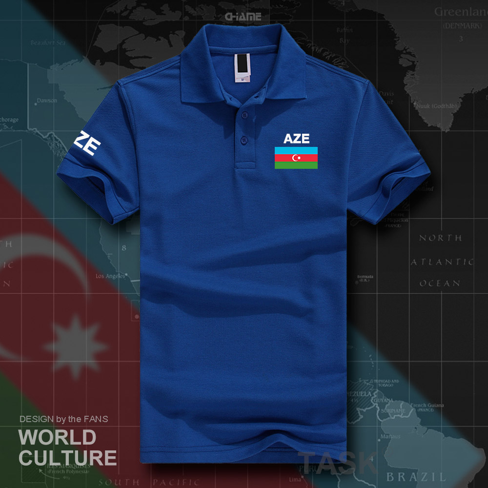 Azerbaijan Azerbaijani   polo   shirts men short sleeve white brands printed for country 2017 cotton nation team flag new casual AZE