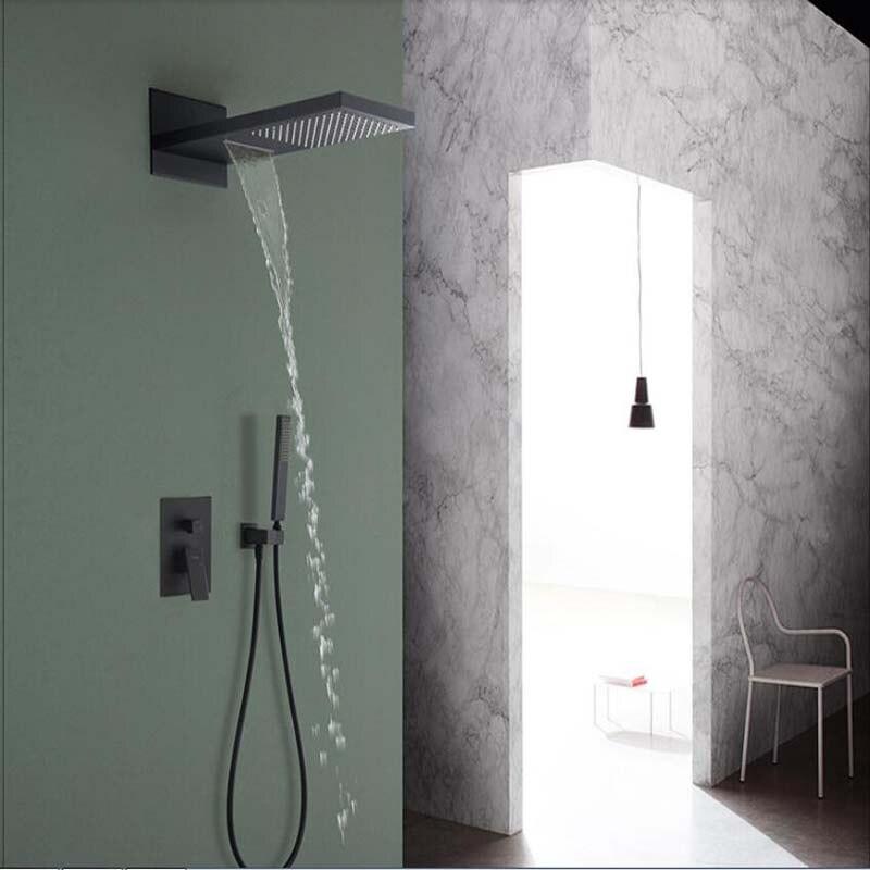 Oil Rubbed Bronze Waterfall Rainfall Shower Faucet Head Sprayer 3 Ways Valve Hand Shower Sprayer 22 Square Shower Mixer Tap