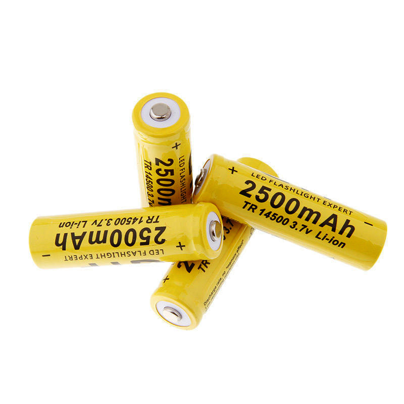 4 Pieces/Lot New 14500 Battery 3.7V 2500mAh Rechargeable Liion Battery For Led Flashlight Batery Litio Battery