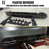 C63s Style 4 Outlet PP Rear Diffuser with Exhaust Tips for Benz W205 S205 4Door C180 C200 C300 C43 with AMG Package 2015 2022