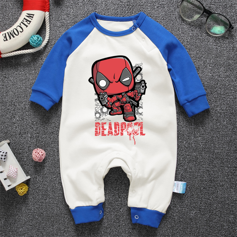 Hot 2018 new one piece baby boys girls rompers anime deadpool cotton high quality soft for baby rompers cartoon kids clothing mother nest 3sets lot wholesale autumn toddle girl long sleeve baby clothing one piece boys baby pajamas infant clothes rompers