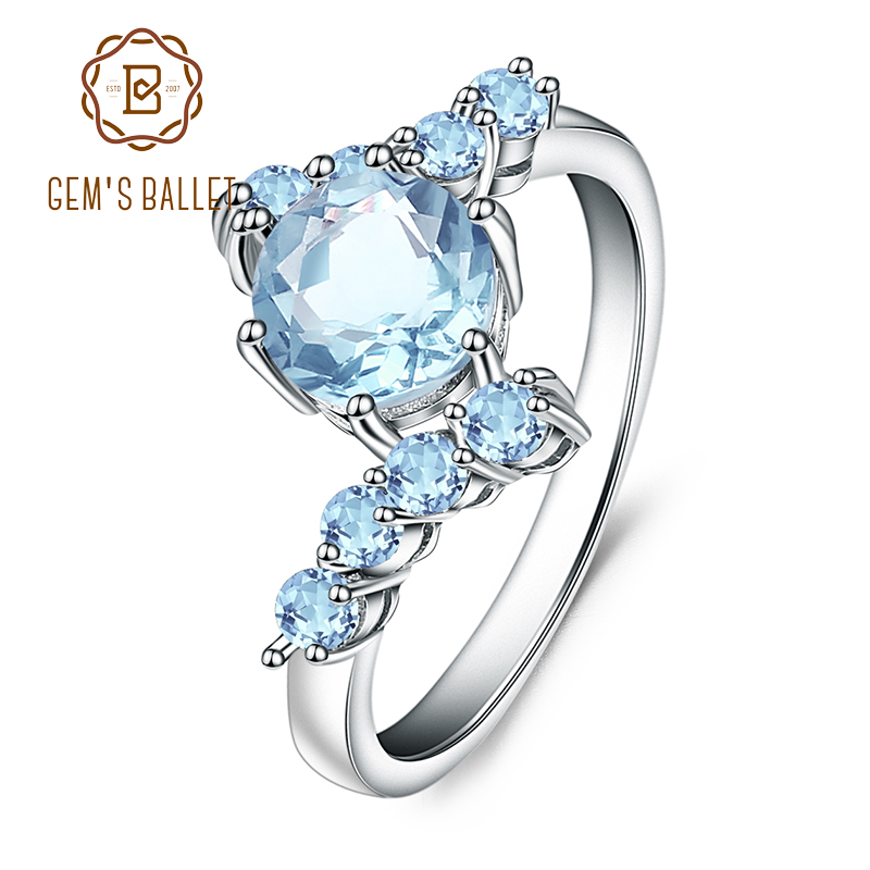 GEM'S BALLET Real 925 Sterling Silver Wedding Rings 1.66Ct Round Natural Sky Blue Topaz Gemstone Ring for Women Fine Jewelry