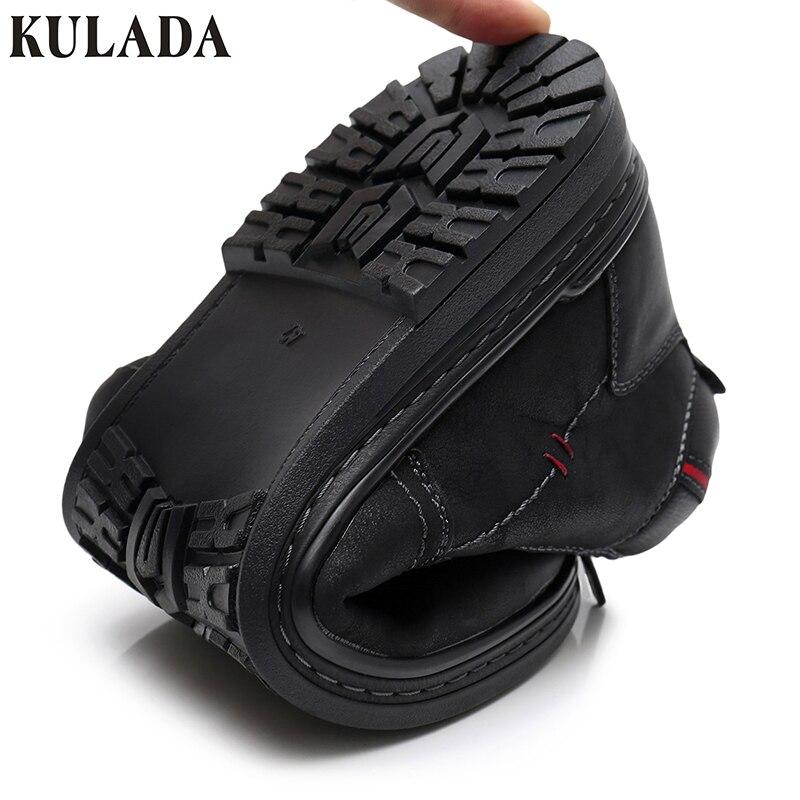 KULADA offre spéciale bottes vache daim hommes hiver bottine hommes les plus chaudes bottes de neige Double fermeture éclair côté botte décontracté épais fourrure chaussure - 4