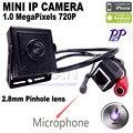 Mini cámara ip de mini 2.8mm lente ONVIF 1.0MP HD H.264 P2P CCTV Cámara IP sistema de seguridad cctv de Vigilancia Del Teléfono Móvil