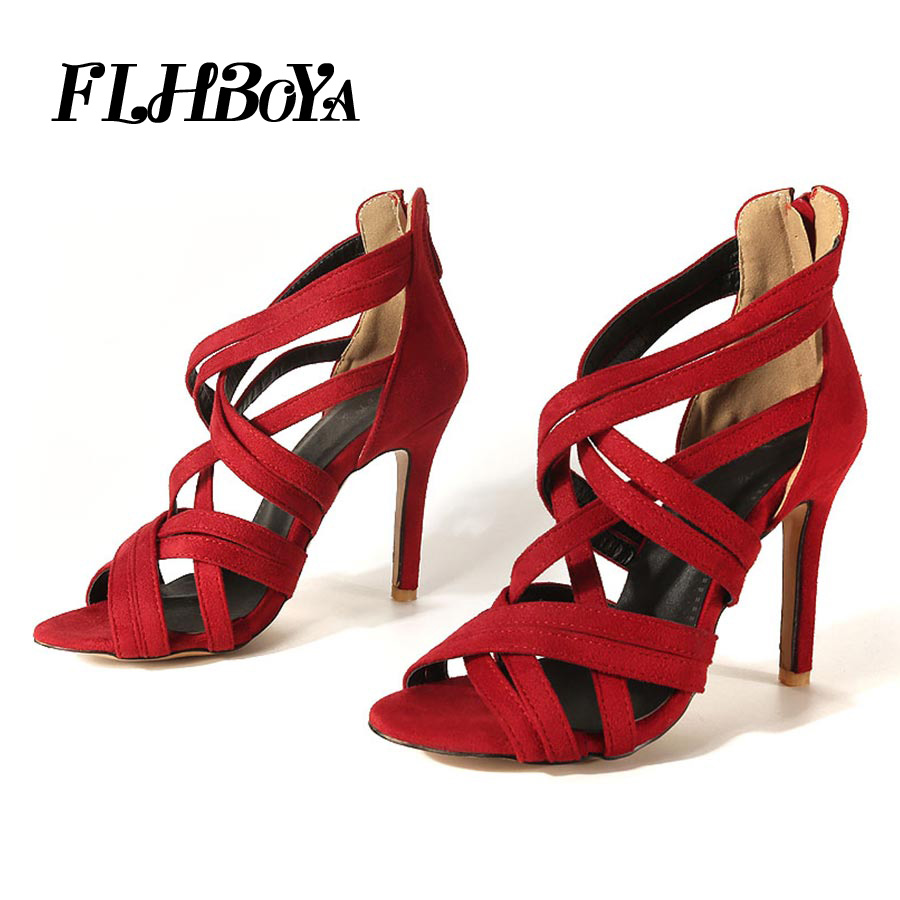 7b3804cb116 Women Gladiator Sexy Thin High Heels Ankle Strap Rome Sandals Summer Lady  Open Toe Cross strap Shoes Woman Red Cover Heel Sandal