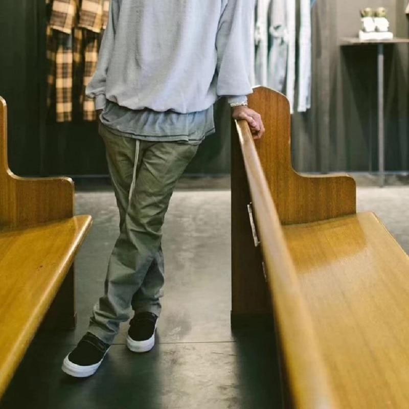 Europe et les États-unis rétro droite pantalons décontractés hommes haute rue KANYE sling taille élastique INS marée personnes coton pantalon