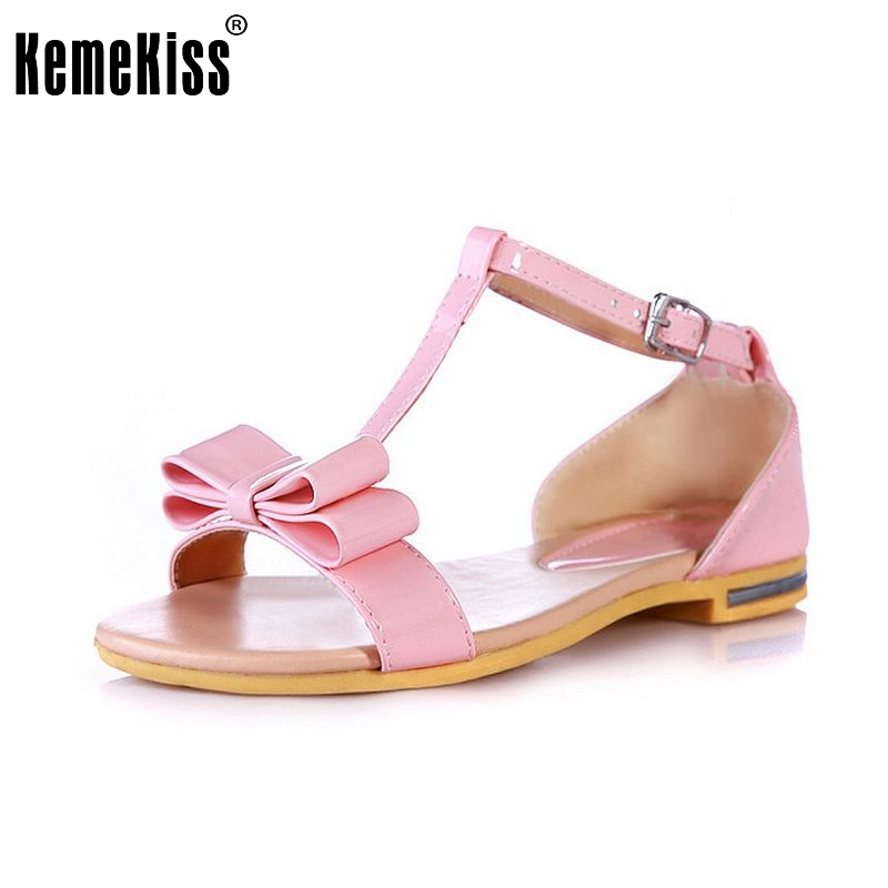 Women Flats Sandals Sweet Bowtie Shoes Woman Flat Sandalias Fashion Ladies Flat Shoes Ankle Strap Footwear Size 34-39 PA00239 plus size 34 43 new platform flat shoes woman spring summer sweet casual women flats bowtie ladies party wedding shoes