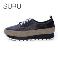 SURU Leather Platform Wedges Casual Shoes Women Lace up Sneakers With Espadrilles Brodered