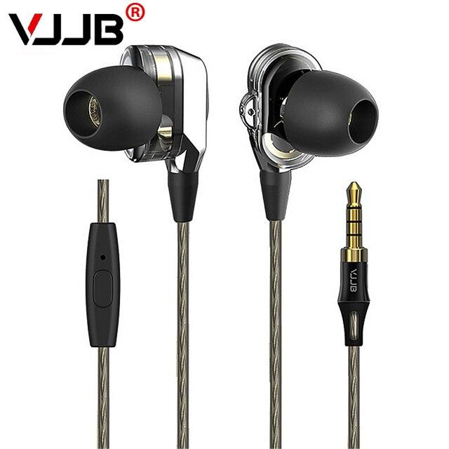 VJJB V1 V1S podwójny sterownik systemu słuchawki głęboki bas HIFI doskonała jakość dźwięku Subwoofer zestaw słuchawkowy słuchawki douszne