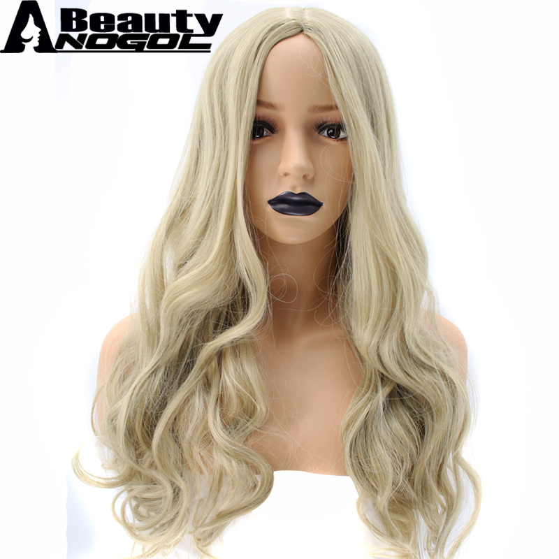 ANOGOL BEAUTY Hair Cap + High Temperature Fiber Peruca Middle Part Long Natural Body Wave Blonde Synthetic Wig For White Women
