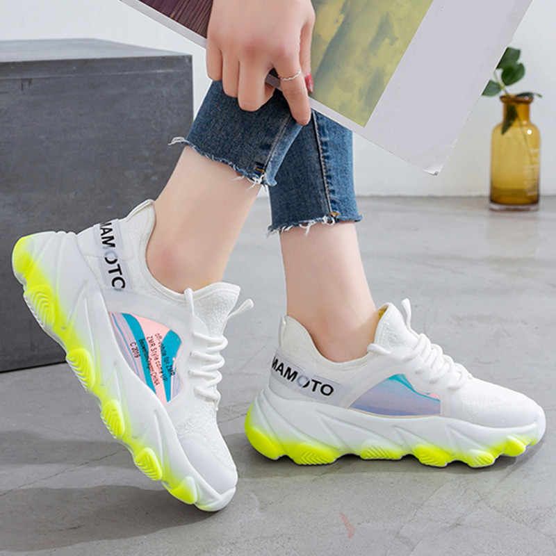 Women Sneakers Breathable Mesh Green Platform Ladies Shoes Summer Knitting Flats Casual Shoes Women Chunky Sneakers 968w