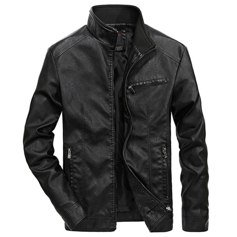 zozowang Men's Leather Jackets Men Stand Collar Coats Male Motorcycle Leather Jacket Casual Slim Brand Clothing plus size 5XL-in Faux Leather Coats from Men's Clothing    3