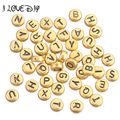 50Pcs Acrylic Mixed Alphabet Letter Coin Round Flat Spacer Beads DIY 4x7mm