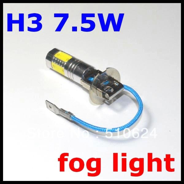 2PCS H3 7.5W Super Bright Car LED Front Headlights High Power Light h3 led Fog Bulb Lights Lamp 12V White e support 2 pcs h7 80w cree super bright xenon white led car auto fog lights rear lights headlights lamp bulb xy01