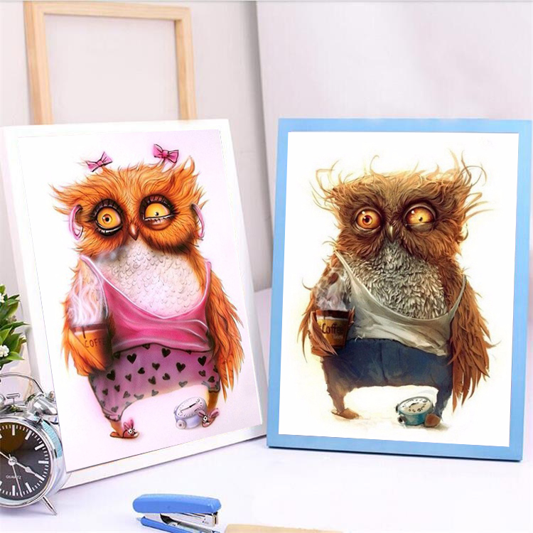 5D DIY Baru Binatang Owl Diamond Embroidery Diamond Painting Cross Stitch Gambar Rhinestones Full Square Diamond Mosaic Kit