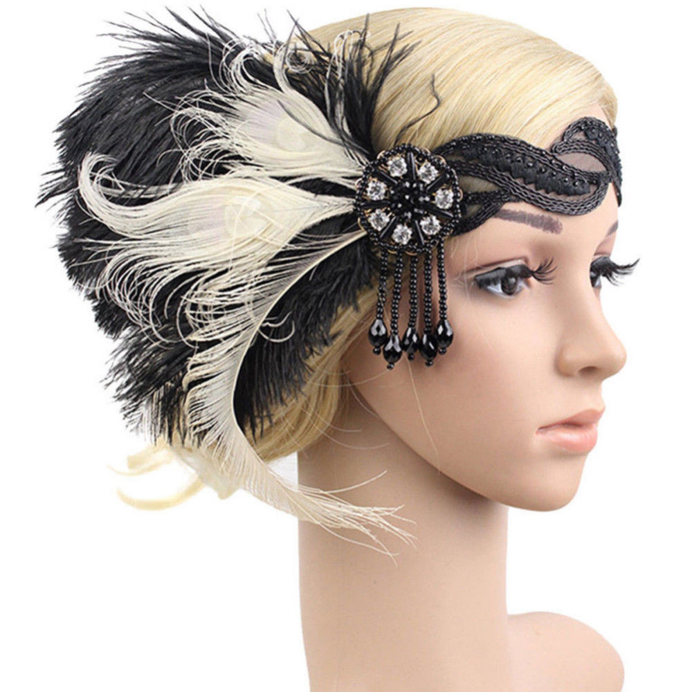 Handmade 1920s Great Gatsby Headpiece Vintage Feather Hair Headpiece Retro Style Hair Accessory for Cocktail 20s Theme Party headpiece