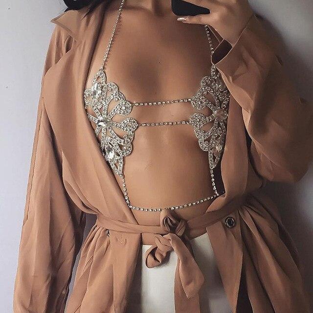 KMVEXO 2017 Dichiarazione di Moda Collana di Fiori Gioielli Collana Catena Corpo Sexy Reggiseno Estate Boho Lusso Brassiere Donne Bijoux