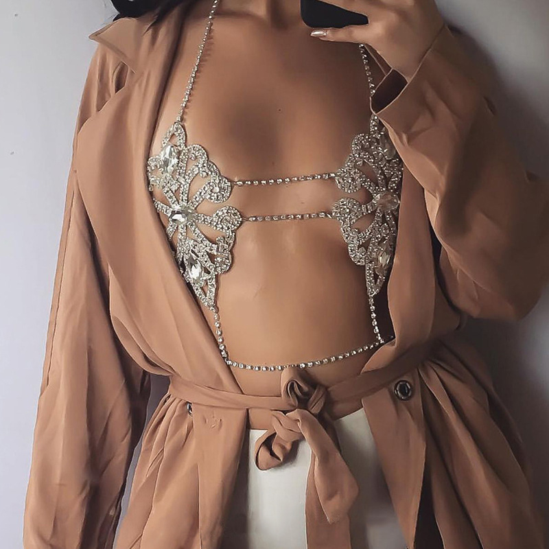 KMVEXO 2017 Fashion Statement Jewelry Flowers Sexy Body Necklace Chain Bra Necklace Summer Boho Luxury Brassiere Women Bijoux