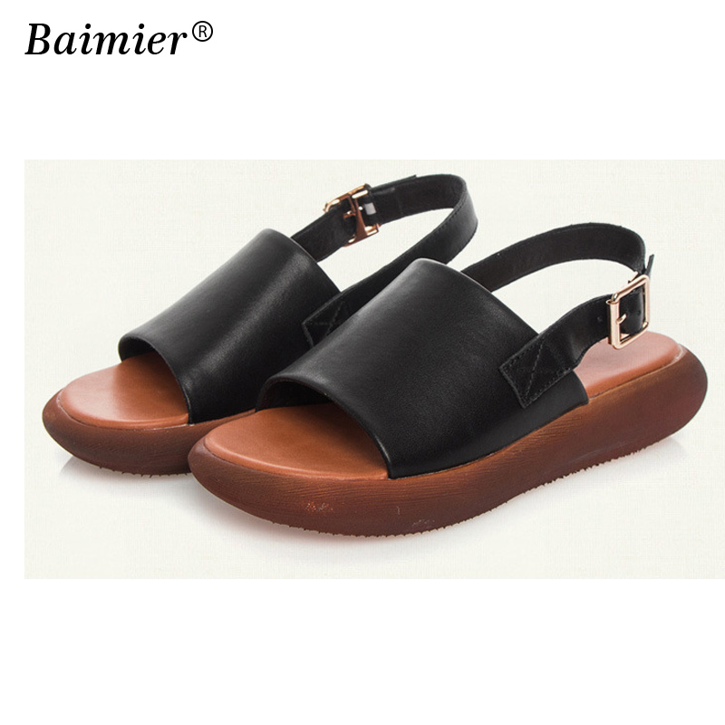 Women Sandals Soft Genuine Leather Gladiator Sandals Women Casual Summer Shoes Female Flat Sandals Beach Shoes Women Plus Size aiyuqi 2018 new genuine leather women sandals summer flat middle aged mother sandals plus size 41 42 43 casual shoes female