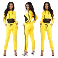 2017 Autumn Winter Yellow Tracksuit For Women Hoody Crop Top And Pants Sets Two Piece Set