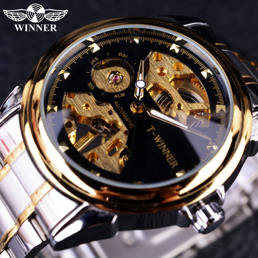 Winner 2016 New Design Men Watches Top Brand Luxury Watch Half Skeleton Black Golden Transparent Fashion Casual Mechanical WatchWinner 2016 New Design Men Watches Top Brand Luxury Watch Half Skeleton Black Golden Transparent Fashion Casual Mechanical Watch