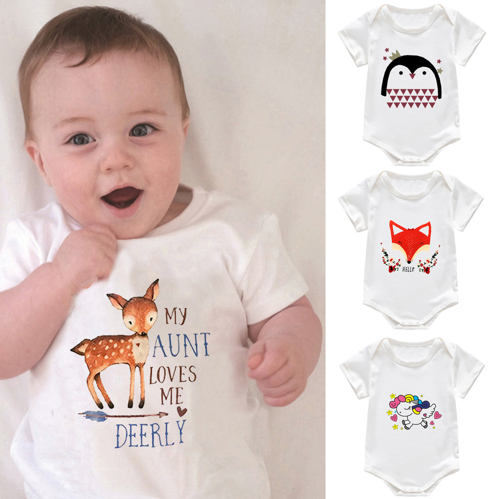 Toddler Baby Short Sleeve Letter Print Romper Newborn Jumpsuit  Fashion Clothes