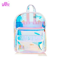 TZY Waterproof PVC Shiny School Bag Laser Transparent Backpack Hologram Women Girls Backpack Clear Daily Backpack Teenage Girls