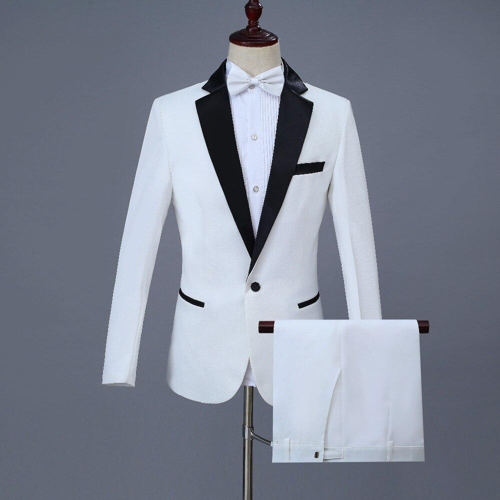 Herren Weiß Elegante Hochzeit Bräutigam 4 Stück Smoking Anzüge jacke + Pants + Blet + Krawatte Marke Dünne Leiter Magier Zeigen Terno Masculino