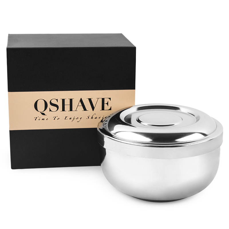 QSHAVE Stainless Steel Shaving Soap Bowl Double Edge Razor Brush Stand For Classic Safety It Shaving Cream Bowl 11 X 6.8 X 6.3cm