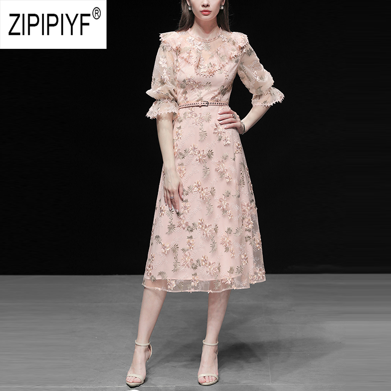 Vestidos Women Party Chiffon Elegant Chic Casual Dresses Embroidery O Neck Hollow Out Half Sleeve Dresses