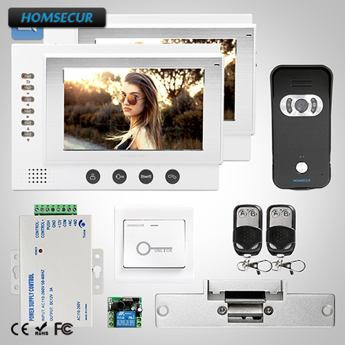 HOMSECUR 7 Wired Hands-free Video Door Entry Phone Call System+Black Camera :TC021-B Cam ...