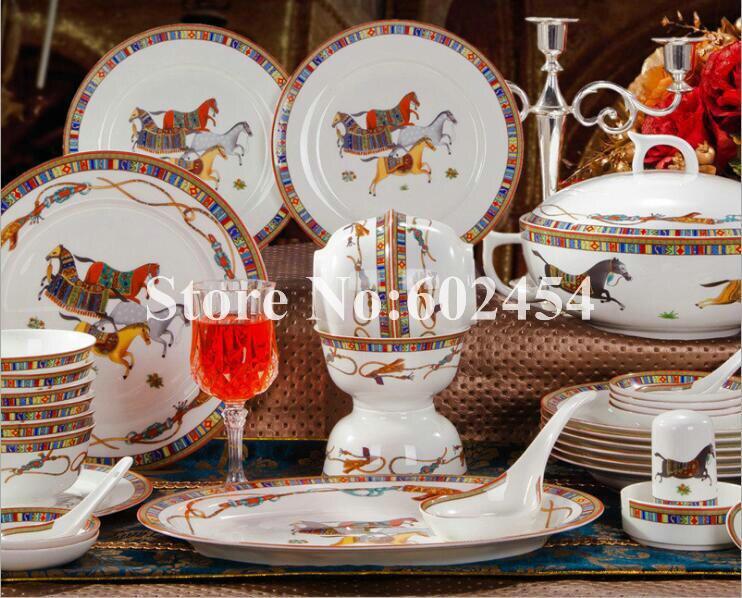 Bonne qualité os chine vaisselle 58 pièces bol assiettes ensemble Jingdezhen céramique maison vaisselle ensemble porcelaine vaisselle cadeaux de mariage