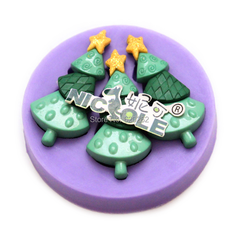 Christmas Cake Decoration Molds : christmas tree 3d mini fondant cupcake decorations ...