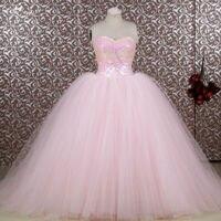 RSE653 Cheap Vestidos De Quince Anos 2016 Long Puffy Ball Gowns Light Pink Quinceanera Dresses