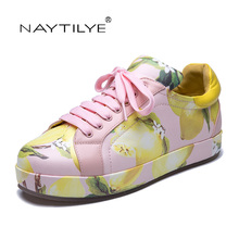 Flats shoes woman PU leather Summer lace-up shoes White Pink lemon shoes 36-40 Free shipping NAYTILYE