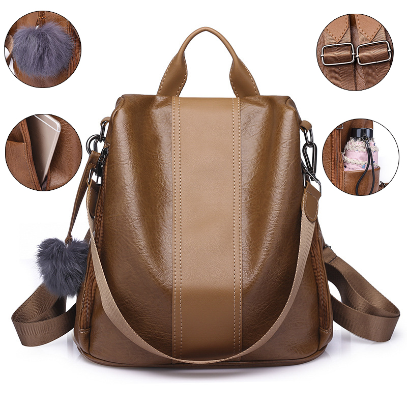 New Quality Leather Anti-thief Women Backpack Large Capacity Hair Ball School Bag For Teenager Girls Male Travel Bags