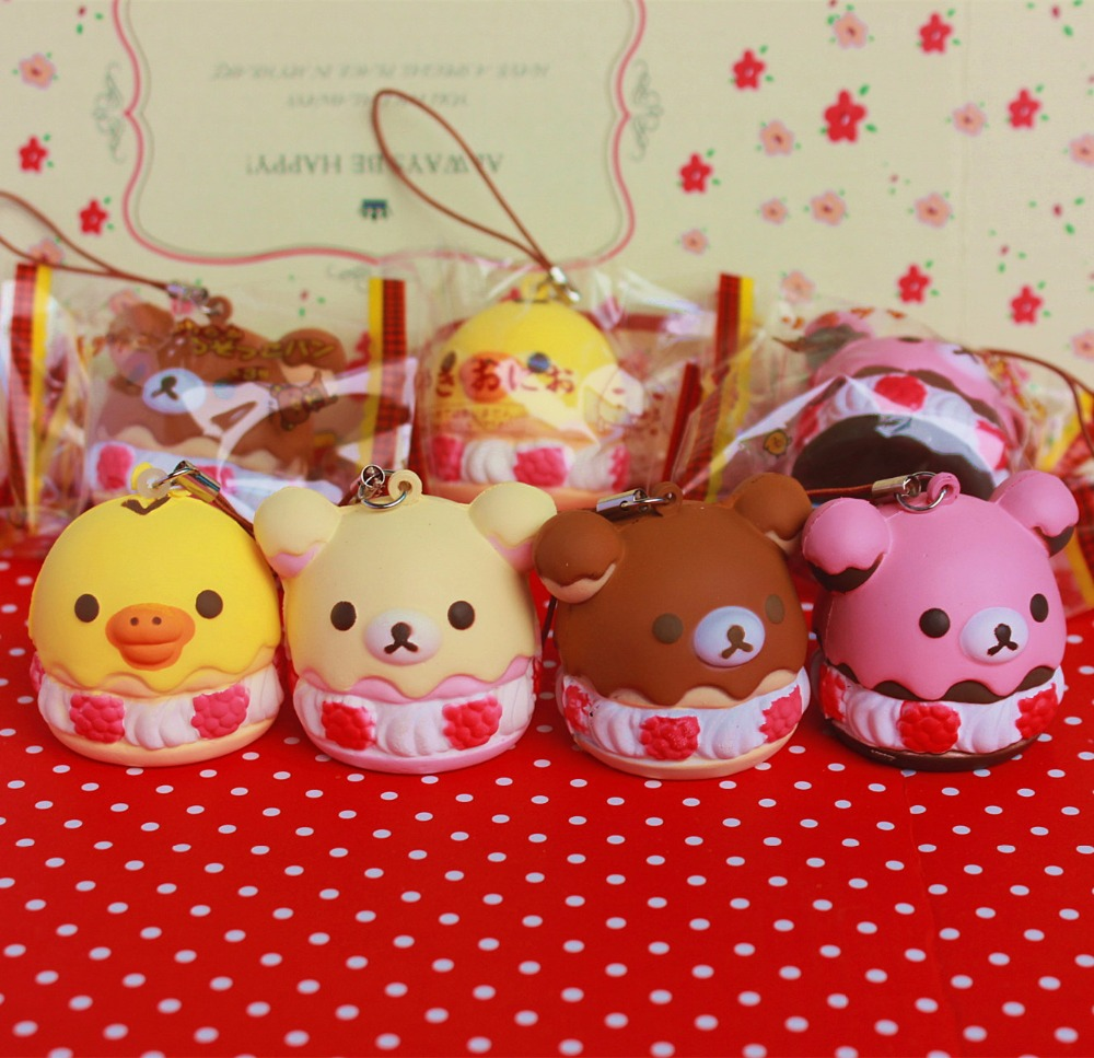 imágenes para Comercio al por mayor 10 unids/lote 5 cm original kawaii squishy Rilakkuma pastel de hojaldre queeze juguetes bolsos del teléfono celular correas encanto squishies pan