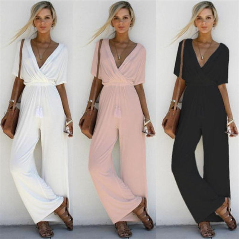 4ddb07a515f5 Women Elegant Wide Leg Long Pants Jumpsuit Sexy Lady V Neck Short Sleeve  Romper Women s Solid Party Overalls Rompers Talever